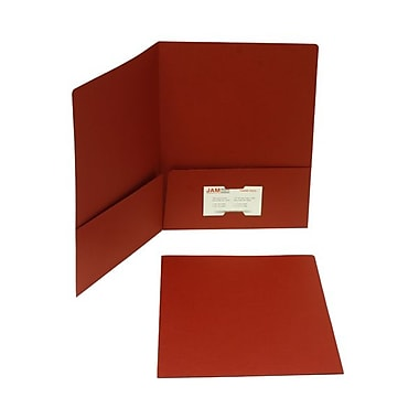 Jam® 9in. x 12in. Paper Matte Two Pocket Folder, Dark Red, 100/Box