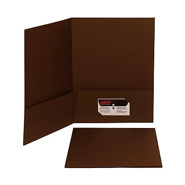 Jam® 9in. x 12in. Matte Two Pocket Folder, Chocolate Brown, 100/Box