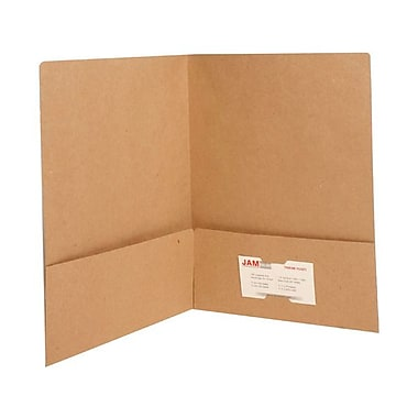 Jam® 9in. x 12in. Matte Two Pocket Folder, Brown, 100/Box