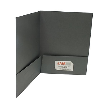 JAM Paper® Two Pocket Linen Folder, Gray, Sold Individually