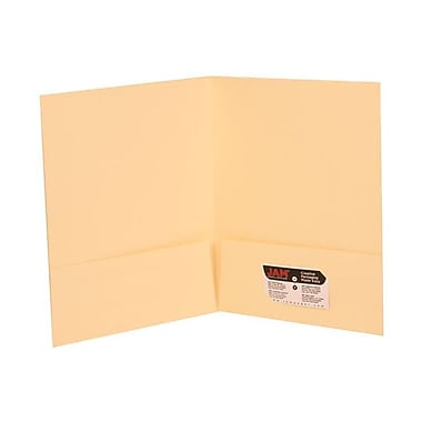 JAM Paper® Two Pocket Presentation Folders, Ivory Linen, 100/Pack (19231B)