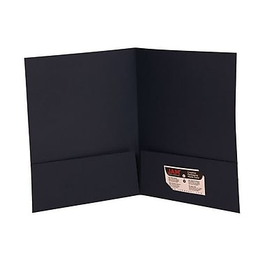 Jam® 9in. x 12in. Two Pocket Linen Folder, Navy Blue, 100/Box