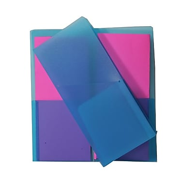 JAM Paper® Plastic Heavy Duty Mini Two Pocket Folders, Small, 4.25 x 9 1/8, Blue, 12/Pack (96449dg)