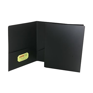JAM Paper® 9in. x 12in. Plastic Heavy Duty Two Pocket Presentation Folder, Black,6/Pack