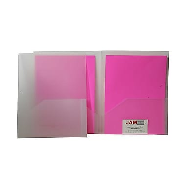 JAM Paper® 9in. x 12in. Plastic Heavy Duty Two Pocket Presentation Folder, Clear,6/Pack
