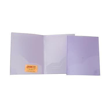 JAM Paper® 9in. x 12in. Plastic Heavy Duty Two Pocket Presentation Folder, Lilac,6/Pack