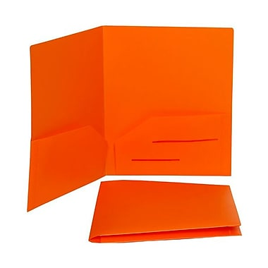 JAM Paper® 9in. x 12in. Plastic Heavy Duty Two Pocket Presentation Folder, Orange,6/Pack