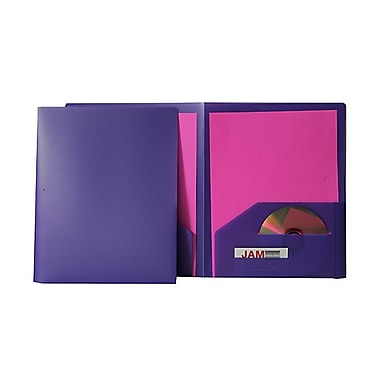 JAM Paper® Plastic Heavy Duty Two Pocket Folders, Purple, 12/Pack (383Npurpledg)