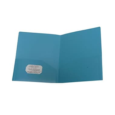 Jam® 9in. x 12in. Plastic Heavy Duty Two Pocket Presentation Folder, Sea Blue
