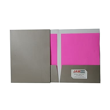 Jam® 9in. x 12in. Pinstripe Two Pocket Presentation Folder, Bronze, 100/Box