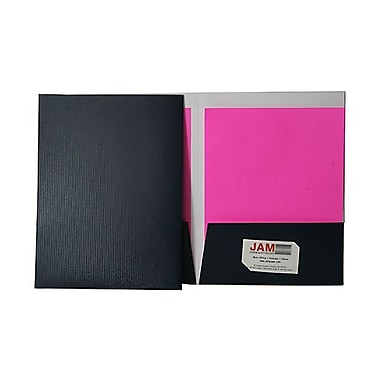 Jam® 9in. x 12in. Pinstripe Two Pocket Presentation Folder, Indigo Navy, 100/Box