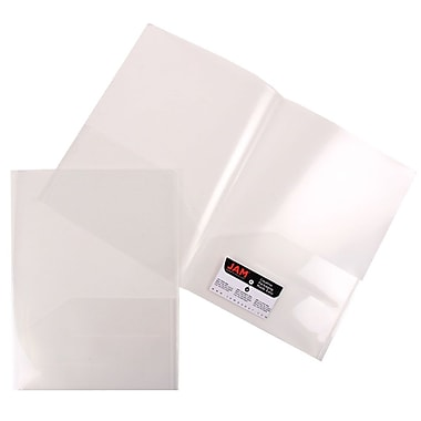 JAM Paper® Plastic Regular Weight See Through Two Pocket Folder, Clear, Sold Individually