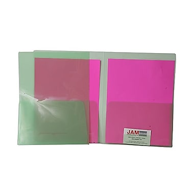 JAM Paper® 9in. x 12in. Plastic Regular Weight See Through Two Pocket Folder, Green,6/Pack