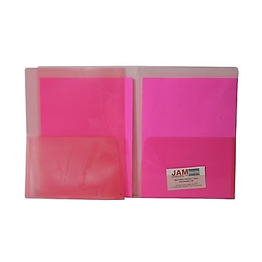 JAM Paper® Plastic Regular Weight See Through Two Pocket Folder, Red, Sold Individually
