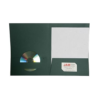 Jam® 9in. x 12in. Paper Two Pocket Matte Folder, Green Briar, 100/Box