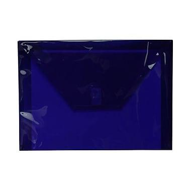 JAM Paper® Plastic Envelopes with VELCRO® Brand Closure, Letter Booklet, 9.75 x 13, Dark Blue Poly, 12/Pack (218V0DKBU)