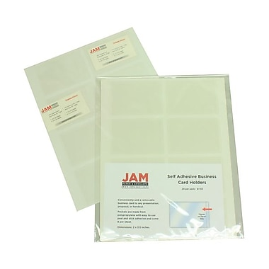 JAM Paper® 2in. x 3 1/2in. Self Adhesive Business Card Holder, White, 24/Pack