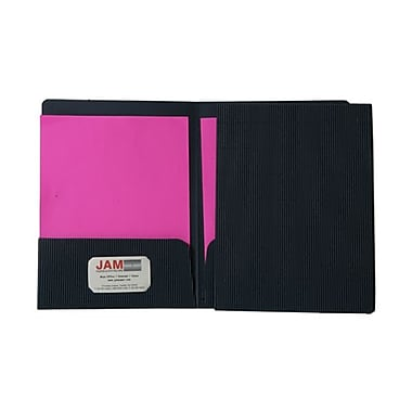 Jam® 9in. x 12in. Corrugated Fluted Folder, Navy Blue, 100/Box