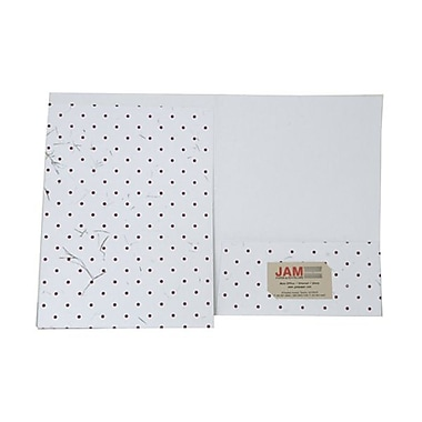JAM Paper® Handmade Folder w/Burgundy Dots, White, Sold Individually