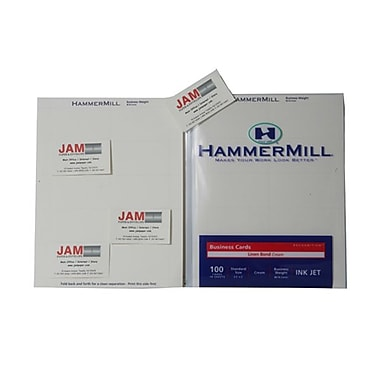 JAM Paper® 3 1/2in. x 2in. 80 lbs. Precut Business Cards Set, Cream, 100/Pack