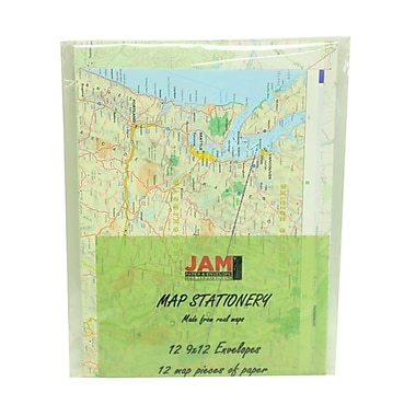 JAM Paper® 24 lbs. Map Stationery Set w/12 9in. x 12in. Envelopes & 12 Sheets of Paper
