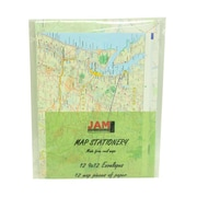 JAM Paper® Map Design Stationery Set, 9 x 12 Envelopes Paper, set of 12 (2237118949)
