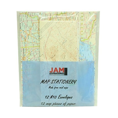 JAM Paper® 24 lbs. Map Stationery Set w/12 #10 Envelopes & 12 Sheets of Paper
