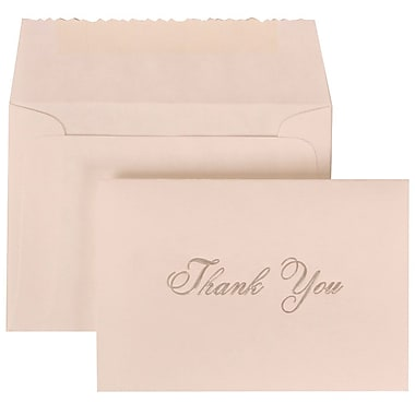 JAM Paper® Thank You Cards Set, Parchment with Silver Script, 104 Note Cards with 100 Envelopes (288918990)