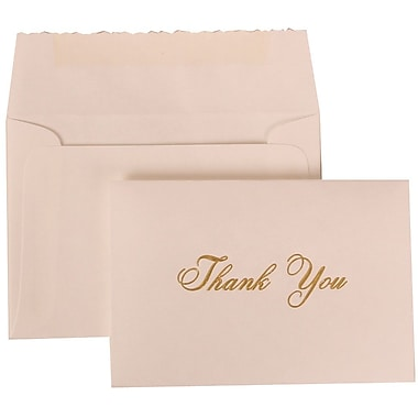 JAM Paper® 65 lbs. Gold Script Thank You Card Set, Parchment w/Gold Script, 104 Cards & 100 Envelopes
