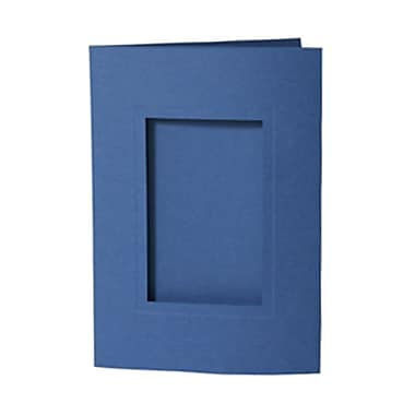 JAM Paper® Foldover Photo Cards, A7 size, 5 x 7, 2.5 x 4 Opening, Blue, 200/Pack (1791033bg)