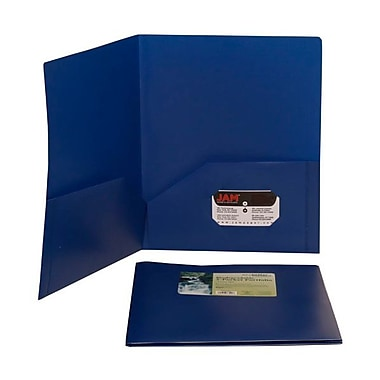 Jam® 9 1/2in. x 11 1/2in. Plastic Biodegradable Two Pocket Eco Folder, Deep Blue, 96/Pack