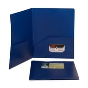 JAM Paper® Plastic Biodegradable Two Pocket Eco Folder, Deep Blue, 96/Pack