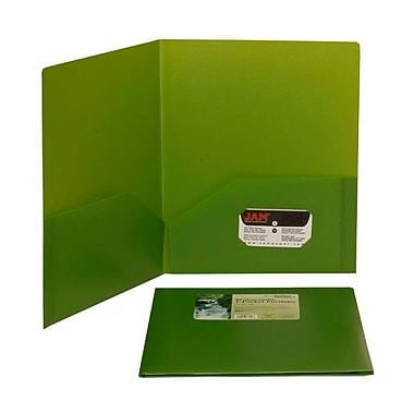 Jam® 9 1/2in. x 11 1/2in. Plastic Biodegradable Two Pocket Eco Folder, Lime Green