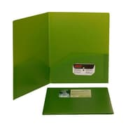 JAM Paper® 9 1/2 x 11 1/2 Plastic Biodegradable Two Pocket Eco Folder, Lime Green, 96/Pack