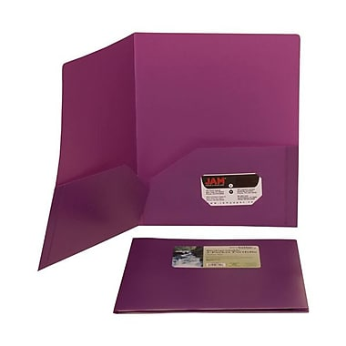 Jam® 9 1/2in. x 11 1/2in. Plastic Biodegradable Two Pocket Eco Folder, Purple