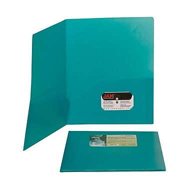 JAM Paper® 9 1/2in. x 11 1/2in. Plastic Biodegradable Two Pocket Eco Folder, Teal
