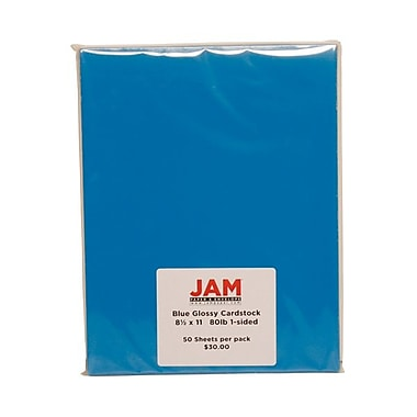 Jam® 50 Sheets/Pack 8 1/2in. x 11in. Glossy 1-Sided Cover Cardstock