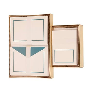 JAM Paper® 1 Large Notecards and 1 Small Foldover Cards Stationery Set Combo, Blue Border