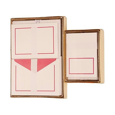 JAM Paper® 1 Large Notecards and 1 Small Foldover Cards Stationery Set Combo, Pink Border
