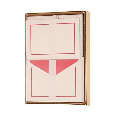 JAM Paper® Large 5 1/2in. x 7 3/4in. Notecards and Matching Envelopes Stationery Set, Pink Border, 50/Set