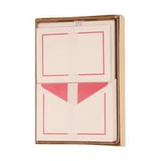 JAM Paper® Large Notecards and Matching Envelopes Stationery Set, Pink Border, 50/Set