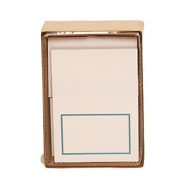 JAM Paper® Small 3 3/8in. x 4 3/4in. Foldover Cards w/Matching Envelopes Stationery Set, Blue Border, 100/Set