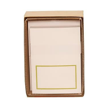 JAM Paper® Small 3 3/8in. x 4 3/4in. Foldover Cards w/Envelopes Stationery Set, Lime Green Border, 100/Set