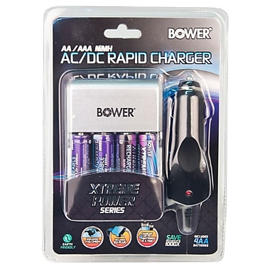 Bower® Xtreme Power Series 4AA/AAA Battery Charger With AC/DC