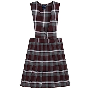 French Toast Girls V-Neck Pleated Plaid Jumpers, Burgundy Plaid