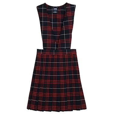French Toast Girls V-Neck Pleated Plaid Jumpers, Navy-Red Plaid