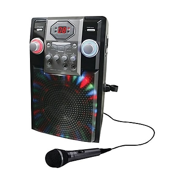 GPX® J182B Black karaoke Party Machine With LED in.rockstarin. Light Effects