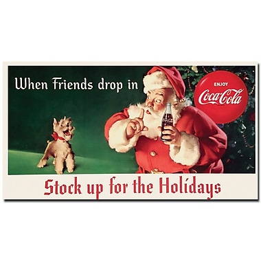 Trademark Fine Art Coke Santa w/ Dog-Stock up for the Holiday- 13x24 Inches