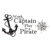RoomMates Work Like a Captain Quote Peel and Stick Wall Decals, Black
