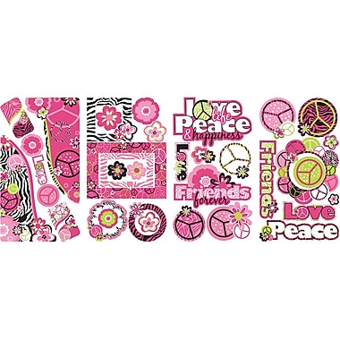 RoomMates Peace Sign Frames Peel and Stick Wall Decal With Glitter, Pink